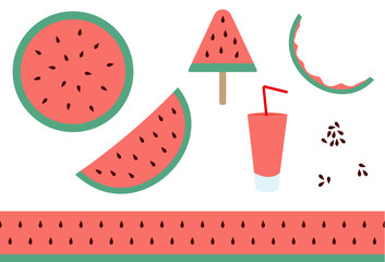 Vector art of different watermelon products