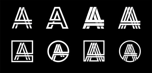 Capital letter A. Modern set for monograms, logos, emblems, initials. Made of white stripes Overlapping with shadows.