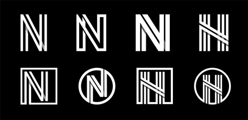 Capital letter N. Modern set for monograms, logos, emblems, initials. Made of white stripes Overlapping with shadows.