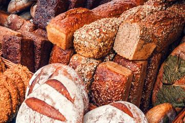 different fresh breads