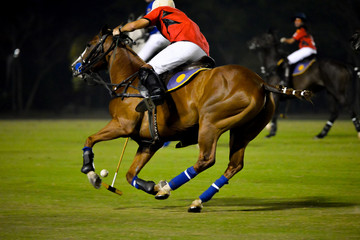 Horses Running In a Night Polo Game.
