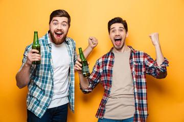 Portrait of a two joyful young men