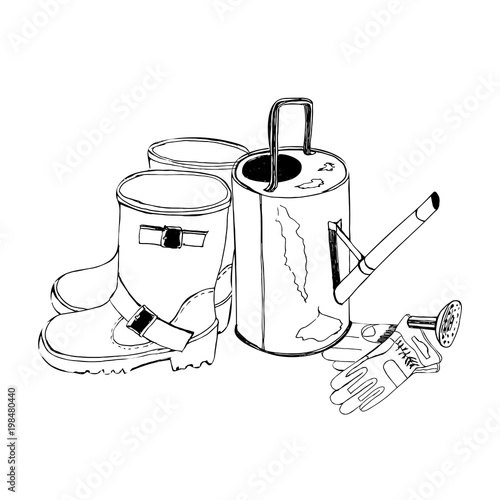 Sketch with garden gloves, watering can and rubber boots