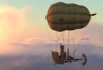 Fantasy Airship Zeppelin Dirigible Balloon 3D illustration