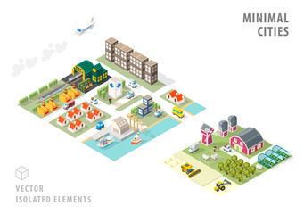 Set of Isolated Isometric Minimal City Maps . Elements with Shadows on White Background