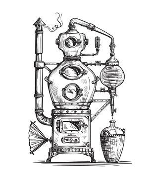 alembic still for making alcohol inside distillery, destilling spirits sketch