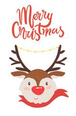 Merry Christmas Banner Congratulation from Deer
