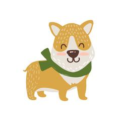 Happy Dog in Scarf Icon Vector Illustration