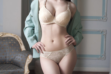 girl in jacket and lingerie provocative posing