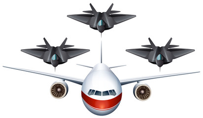 Commercial airplane and military planes
