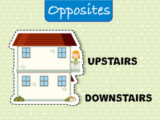 Opposite words for upstairs and downstairs