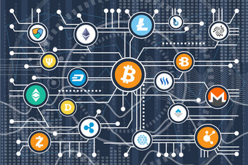 Cryptocurrency Poster Icons on Vector Illustration