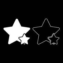 Two star best of the best icon set white color illustration flat style simple image