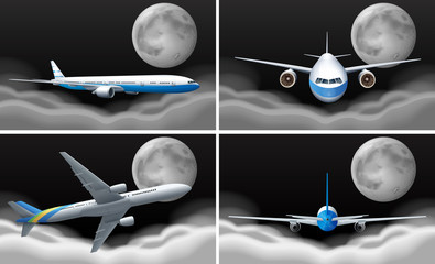 Four scenes with airplane flying at night