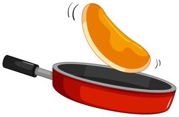 Pancake flipping on the pan