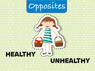 Opposite words for healthy and unhealthy