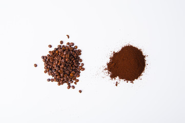 Coffee Beans and coffee ground isolated on white background area for copy space.