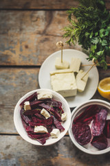 salad of beetroot, soft cheese and greens