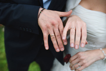 Couple Demonstrating Wedding Rings
