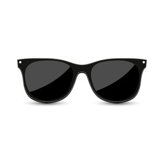 Black hipster sunglasses with dark glass on white background. Vector illustration.