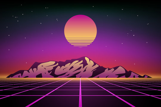 Abstract 80s retro background with mountains, vector illustration