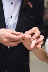 Groom Putting Ring on Bride's Finger