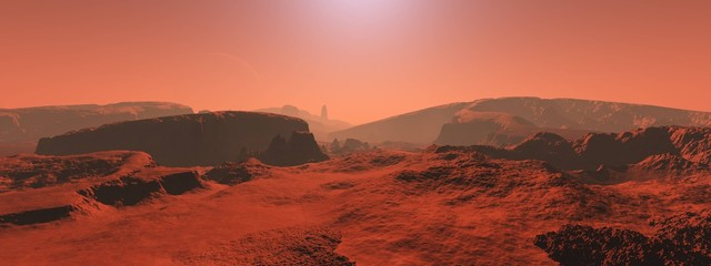 Deurstickers Koraal Mars, a panorama of a surface of a planet 3D rendering