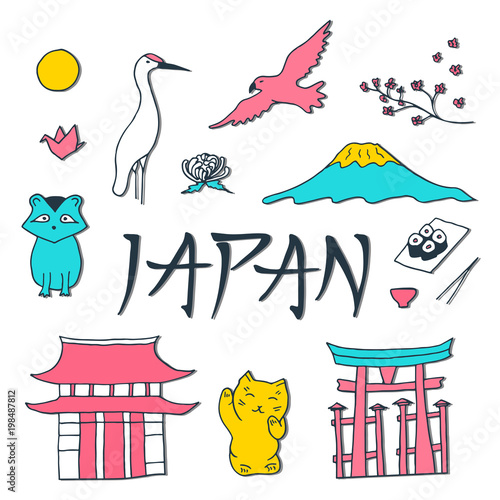 """""""Hand drawn isolated symbols of Japan. Japanese culture ..."""