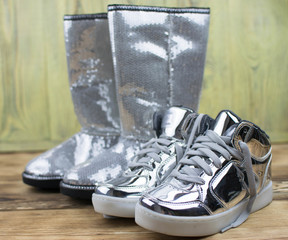 boots and sneakers of metallic color