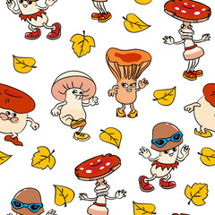 Seamless pattern with cartoon mushrooms and leafs