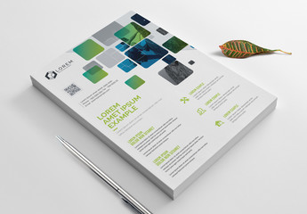 Flyer Layout with Overlapping Gradient Boxes
