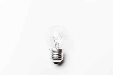 incandescent tungsten light bulb off on a white background