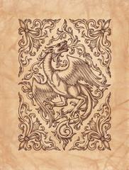 Декоративный стилизованный дракон в орнаменте, рисунок на коричневой старой бумаге.