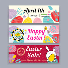 Easter banners with bunny, multicolored eggs. Easter blank