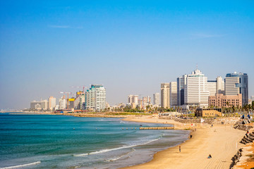 Tel Aviv beach and city, Israel