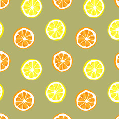Seamless vector of orange and lemon pattern and background