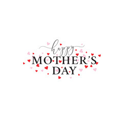 Happy Mother's Day Vector Typography with Pink and Red Hearts