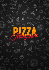 Pizza food menu for restaurant and cafe. Design template with hand-drawn graphic elements in doodle style. Vector Illustration