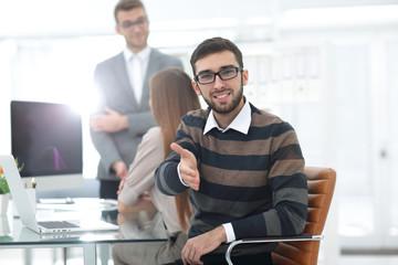 closeup.employee showing thumb up