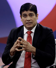 PAC presidential candidate Carlos Alvarado, attends a live televised debate before a second-round presidential election runoff  in San Jose