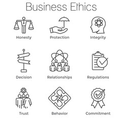 Business Ethics Outline Icon Set w Honesty, Integrity, Commitment, & Decision