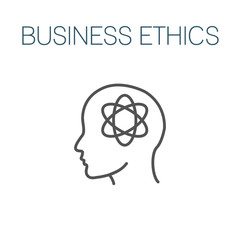 Business Ethics Solid Icon with head and thinking brain.