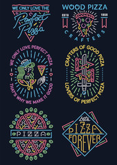 Colored neon pizza signs collection