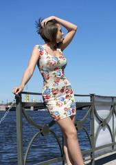 girl in short dress on the street