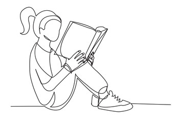 the girl is reading a book