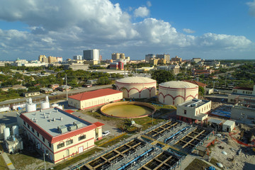 Aerial drone image water purification plant West Palm Beach Florida