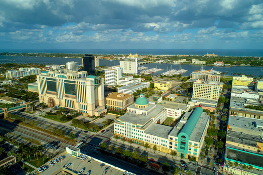 Aerial Downtown West Palm Beach courts government buildings