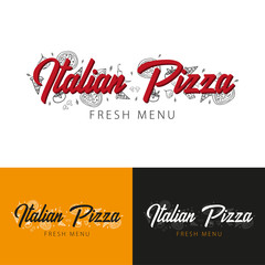 Pizza food logo or emblem for restaurant and cafe. Design with hand-drawn graphic elements in doodle style. Vector Illustration