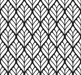 Vector seamless texture. Modern geometric background. Monochrome repeating pattern with abstract leaves