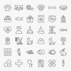 Pet Vet Line Icons Set